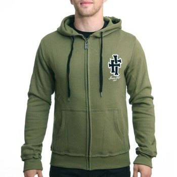 bluza IRON FIST - HERITAGE APPLIQUE, rozpinana z kapturem