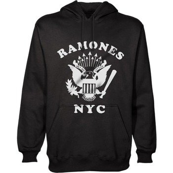 bluza RAMONES - RETRO EAGLE NEW YORK CITY, kangurka z kapturem