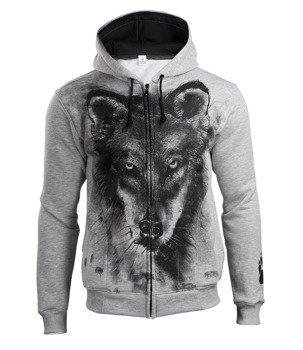 bluza WOLF, rozpinana z kapturem, szary melanż