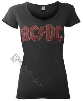 bluzka damska AC/DC - LOGO CHARCOAL RED, cyrkonie