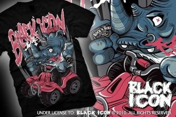 koszulka BLACK ICON - ROCK N RINO (MICON109 BLACK)
