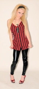koszulka IRON FIST - AXED WOVEN BUTTON UP STRAP TOP  (BLACK/RED STRIPE)