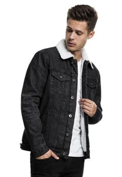 kurtka SHERPA DENIM JACKET black washe jeansowa