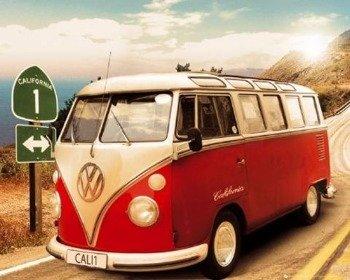 plakat VW CALIFORNIAN CAMPER - ROUTE ONE