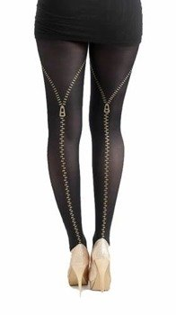 rajstopy FLOCKED TIGHTS ZIPS GOLD