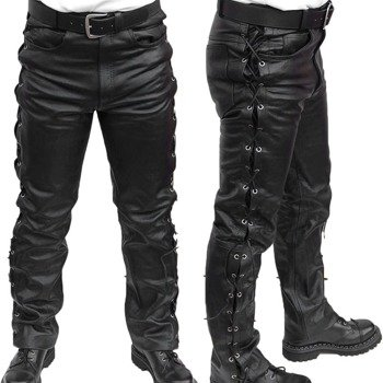 spodnie skórzane Black, proste wiązane