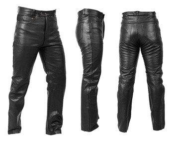 spodnie skórzane RYPARD Black, proste