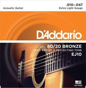 struny do gitary akustycznej D'ADDARIO - Extra Light EJ15 /010-047/
