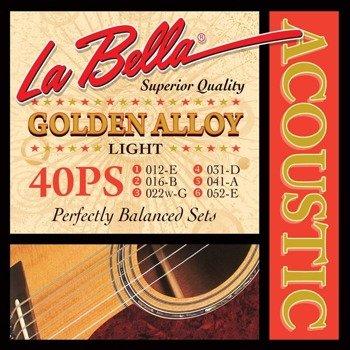struny do gitary akustycznej LA BELLA: GOLDEN ALLOY 40PS Light /012-052/