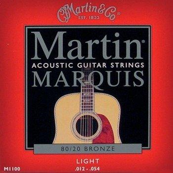 struny do gitary akustycznej MARTIN M1100 - 80/20 BRONZE Light /012-054/