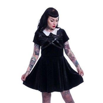 sukienka HEARTLESS - WEDNESDAY NIGHT PENTAGRAM VELVET BLACK