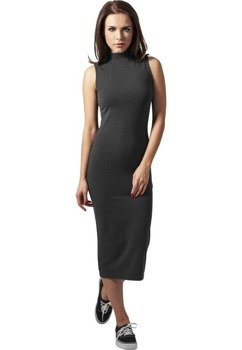 sukienka LADIES STRETCH JERSEY TURTLENECK DRESS charcoal