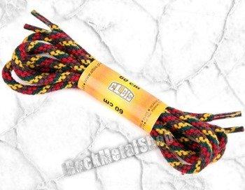 sznurowadła okrągłe, kolor MELANŻ ŻÓŁTO-CZARNO-CZERWONY dł. 60 cm