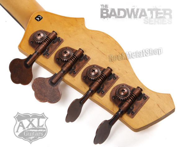 gitara basowa AXL BADWATER / WHITE CRACKLE