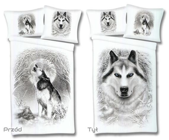 komplet pościelowy SPIRAL - WHITE WOLF, kołdra (135*200) + poduszka (75*50) + poduszka (80*80)