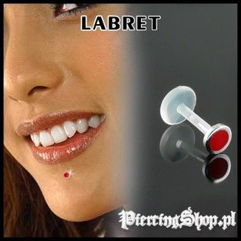 KOLCZYK DO BRODY LABRET(bioplast) KÓŁKO różne kolory CZERWONY [LA-155]