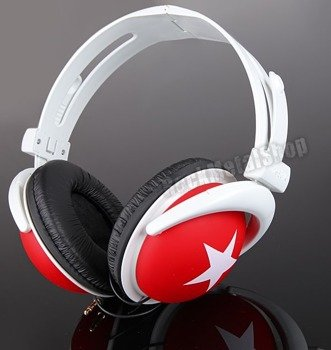 Słuchawki HEADPHONE STAR WHITE/RED