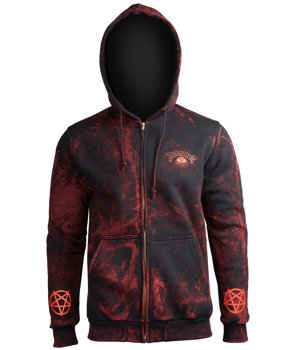 bluza AMENOMEN - PURE EVIL (OMEN004CR ALLPRINT RED) rozpinana, z kapturem
