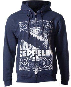 bluza LED ZEPPELIN - VINTAGE PRINT rozpinana, z kapturem, navy