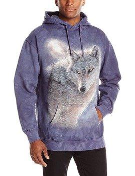 bluza THE MOUNTAIN - ADVENTURE WOLF, kangurka z kapturem, barwiona