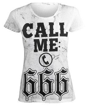 bluzka damska AMENOMEN - CALL ME: 666 (OMEN144DA WHITE ALLPRINT BLACK)