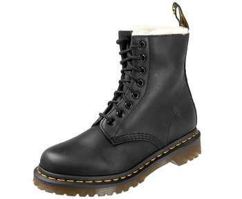 glany DR. MARTENS - DM 1460 SERENA BLACK BURNISHED WYOMING (DM21797001), ocieplane