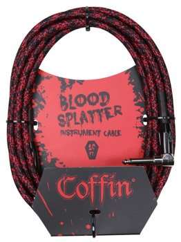 "kabel do gitary COFFIN ""BLOOD SPLATTER"" CF-ICBS10R / jack kątowy/prosty / 3m"