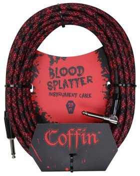 "kabel do gitary COFFIN ""BLOOD SPLATTER"" CF-ICBS25R / jack kątowy/prosty / 7,6m"