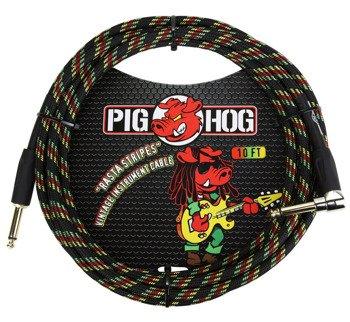 """kabel do gitary PIG HOG """"Rasta Stripes"""" jack kątowy-prosty, 3m"""