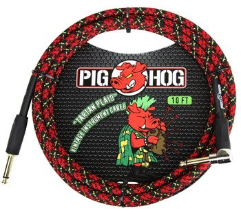 "kabel do gitary PIG HOG ""Tartan Plaid"" jack kątowy-prosty, 3m"