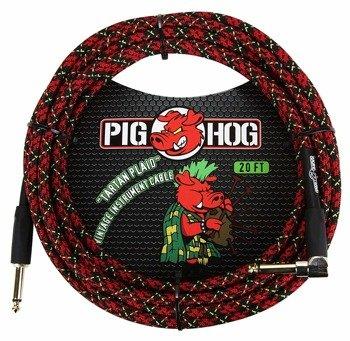 """kabel do gitary PIG HOG """"Tartan Plaid"""" jack kątowy-prosty, 6m"""