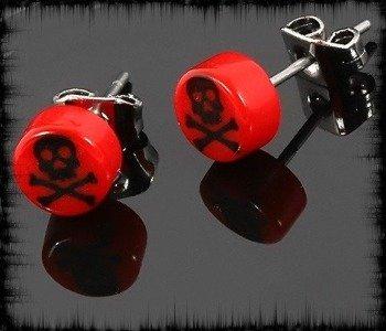 kolczyk BLACK SKULL czerwony