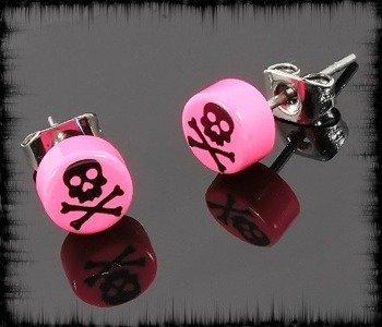 kolczyk BLACK SKULL różowy