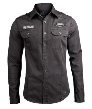 koszula LUIS VINTAGESHIRT WITH BADGES - BLACK