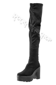 kozaki damskie ALTERCORE czarne zamszowe na obcasie (MICHEL BLACK)