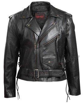 kurtka RAMONESKA, czarna z bocznymi rzemieniami