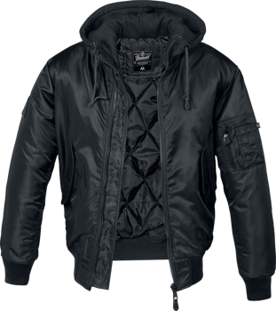 kurtka flyers MA1 JACKET BLACK,  z kapturem