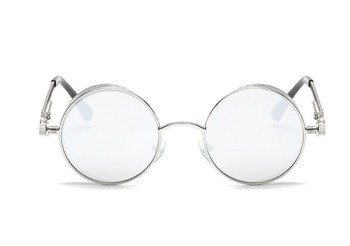 okulary LENONKI STEAMPUNK RETRO RAY SILVER WHITE