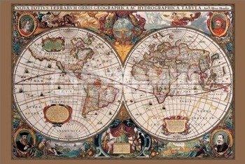 plakat 17TH CENTURY WORLD MAP (GOLD INK)