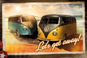 plakat VW  CAMPER - LETS GET AWAY
