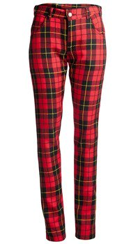 spodnie damskie AMENOMEN - ZIPPS AND BELTS tartan red