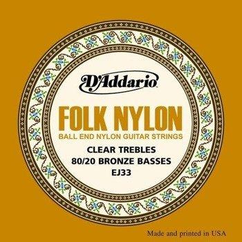 struny do gitary klasycznej D'ADDARIO - FOLK CLEAR NYLON EJ33