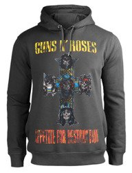 bluza GUNS N' ROSES - APPETITE FOR DESTRUCTION, z kapturem, szara