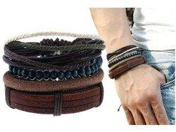 bransoletka BOHO BROWN BLACK, zestaw 4 bransoletek