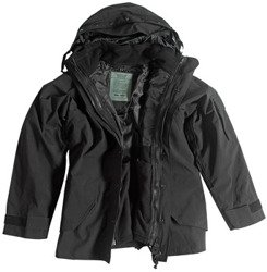 kurtka BLACK WET WEATHER JACKET WITH FLEECE LINER