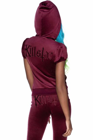 bluza damska KILLSTAR - DEE-LUX (BURGUNDY) rozpinana z kapturem