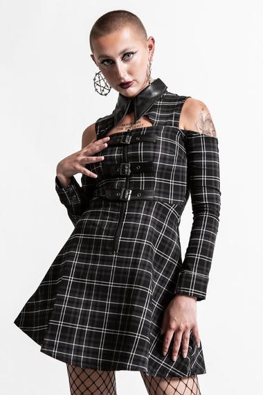 sukienka KILLSTAR - CHAOTICA (ASH TARTAN)