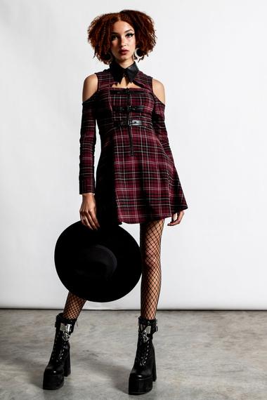 sukienka KILLSTAR - CHAOTICA (BLOOD TARTAN)
